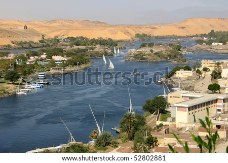 View of the Nile from Aswan - stock photo