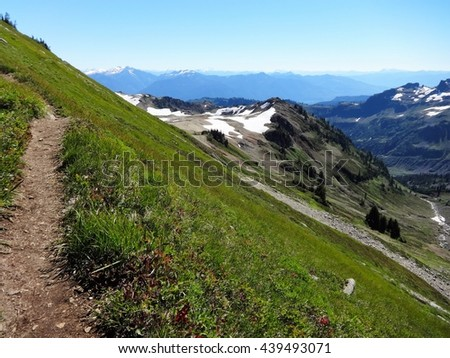 View of the North Cascades from the trail on Ptarmigan Ridge of Mount Baker - stock photo