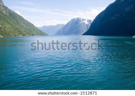 View of the Norwegian fjord - stock photo