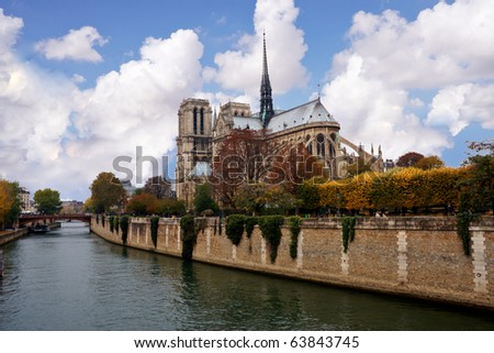 View of the Notre dame in Paris - stock photo