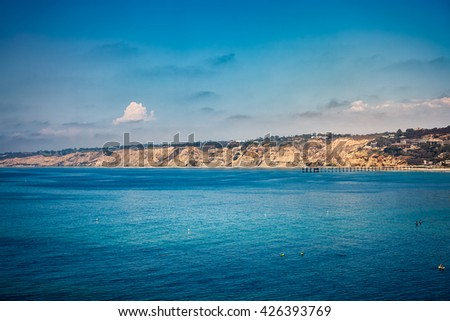 View of the ocean and town of La Jolla California - stock photo