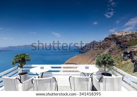 View of the ocean from a balcony in Santorini, Greece - stock photo