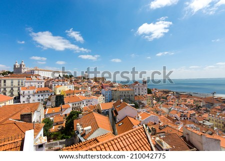 View of the old Alfama quarter in Lisbon, Portugal - stock photo