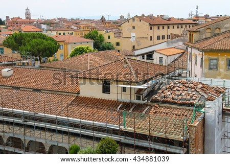 View of the old city from the Leaning Tower. Pisa, Italy - stock photo