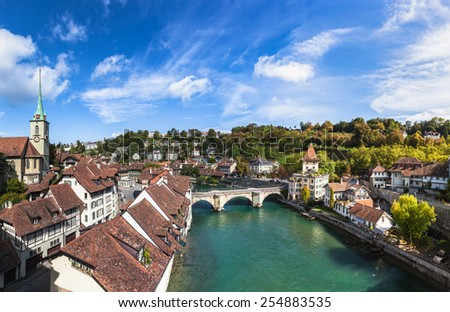 View of the old city of Berne on bridge in Switzerland - stock photo