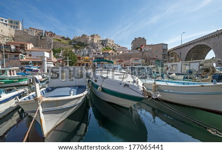 """View of the old harbor """"Vallon des Auffes"""" in Marseille in South France - stock photo"""