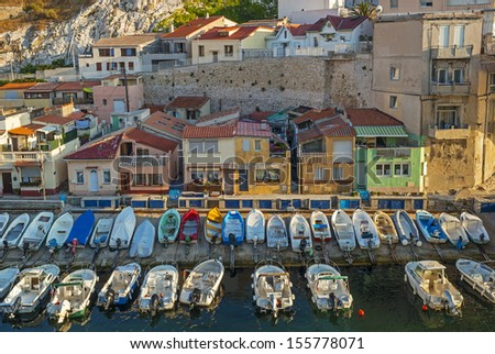 """View of the old harbor """"Vallon des Auffes"""" in Marseille in South France on a summer evening - stock photo"""
