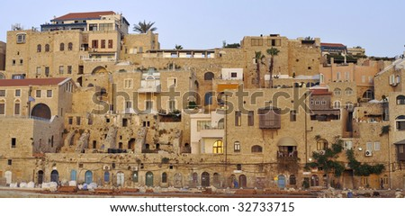 View of the Old Jaffa town at twilight from the seaside - stock photo