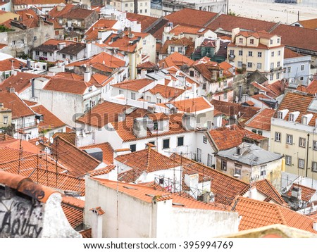 View of the old Lisbon roofs - stock photo