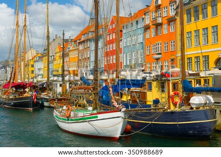 View of the old port in Copenhagen in summer