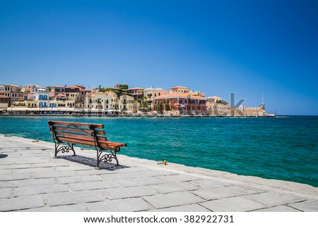 View of the old port of Chania, Crete - stock photo