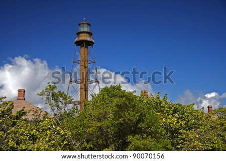 View of the old Sanibel Island Lighthouse, Florida - stock photo