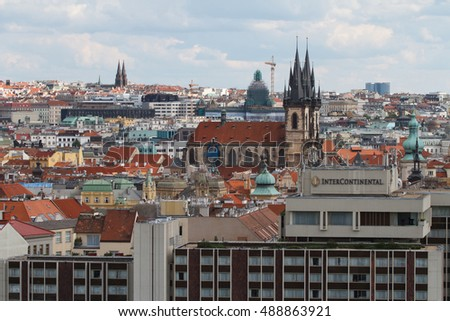 View of the old town and the Church of Our Lady before Tyn. Prague, Czech Republic. August 1, 2016