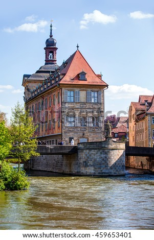 view of the Old Town architecture with City Hall building in Bamberg, Germany