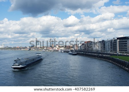View of the Old Town architecture with Rhine promenade river embankment in Dusseldorf, Germany - stock photo