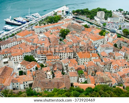 View of the old town center (Stari Grad) of Kotor, Montenegro, from above. Kotor is part of the UNESCO World Heritage Site. - stock photo