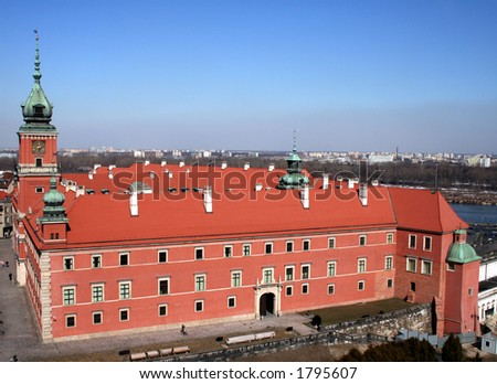 View of the Old Town in Warsaw from the viewtower of St. Anne's church - stock photo
