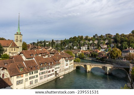 View of the old town of Bern, capital of Switzerland - stock photo