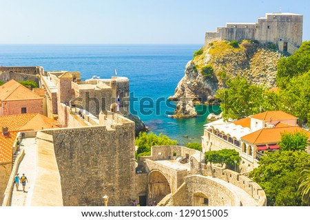 View of the old town of Dubrovnik, Croatia - stock photo