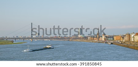 View of the old town of Dusseldorf at the river Rhine in Germany - stock photo