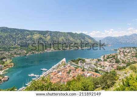 View of the old town of Kotor on. Red tiled roofs and bay south fjord