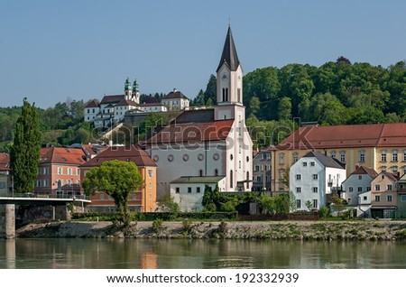 View of the old town of Passau in Bavaria during sunset