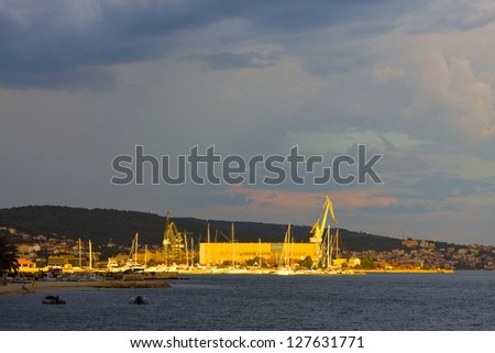 View of the old town of Trogir, Croatia. - stock photo