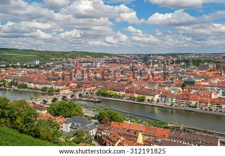 "View of the old town of Wuerzburg and the river ""Main"" in Bavaria - stock photo"