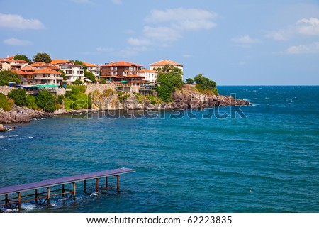 View of the Old Town part of Sozopol, Bulgaria. - stock photo