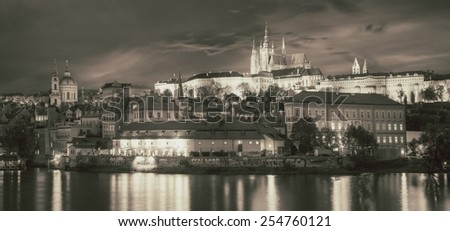 View of the old town Prague in retro style, Czech Republic. - stock photo