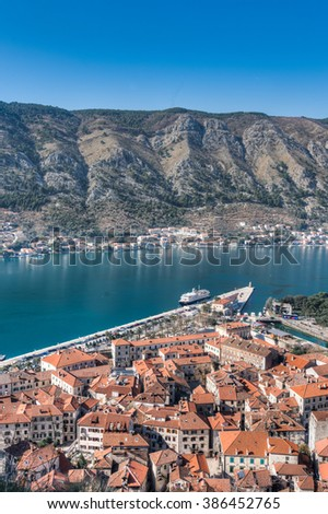 View of the old town (Stari Grad) from St. John's Fortress and the the city walls, Kotor, Montenegro - stock photo