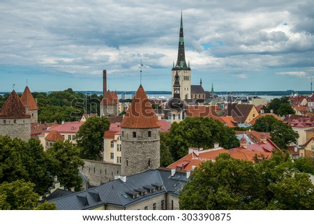 View of the old town with dramatic clouds. Tallinn, Estonia, Europe - stock photo