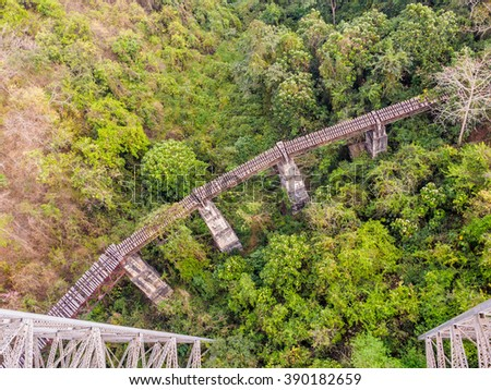 View of the old train tracks and forest in a valley between two mountains in Myanmar