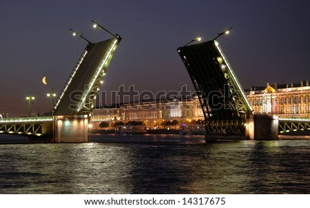 View of the open Palace Bridge. Saint-Petersburg, Russia