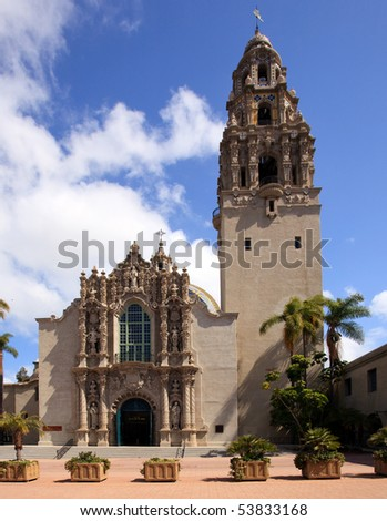 View of the ornate California Tower and South Facade of Museum of Man in Balboa Park in San Diego - stock photo