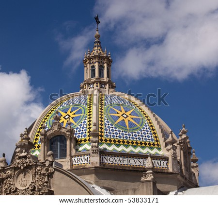 View of the ornatedome on Museum of Man in Balboa Park in San Diego - stock photo