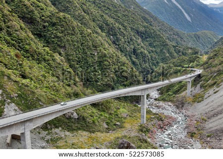 View of the Otira Viaduct, Arthur's Pass, Canterbury, South Island, New Zealand