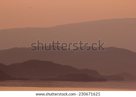 View of the Outer Hebrides at sunset, Scotland - stock photo