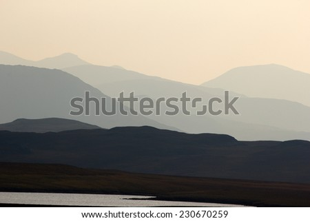 View of the Outer Hebrides (Isle of Lewis) at sunset, Scotland - stock photo