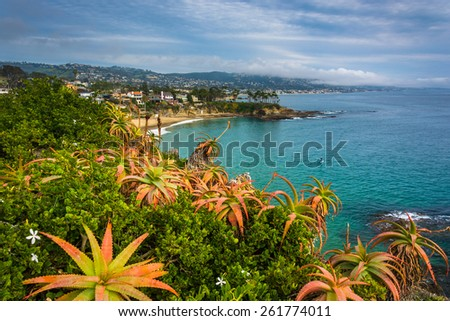 View of the Pacific Coast from Crescent Bay Point Park, in Laguna Beach, California. - stock photo