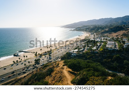 View of the Pacific Ocean in Pacific Palisades, California. - stock photo