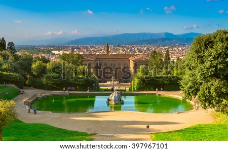 View of the Palazzo Pitti and italian style Boboli gardens in Florence, Italy - stock photo
