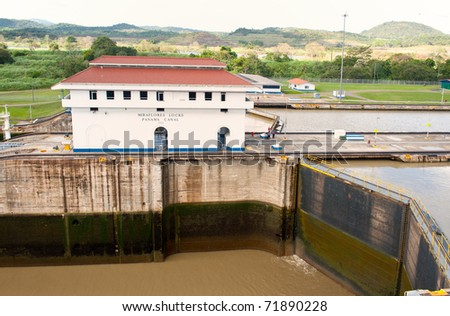 View of the Panama cana, Miraflores locks, in the Pacific side. - stock photo