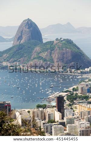 view of the Pao de Acucar and Rio de Janeiro - stock photo