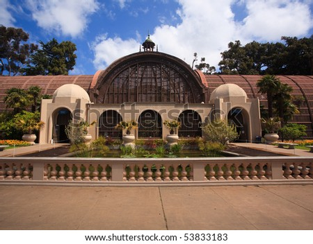 View of the parapet in front of the Botanical Building in San Diego's Balboa Park - stock photo