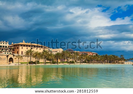 view of the Parc del Mar near Cathedral La Seu, Palma de Mallorca, Spain - stock photo