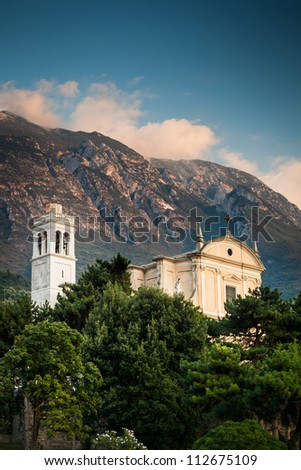 View of the parish church of Santo Stefano in  Malcesine, Italy - stock photo