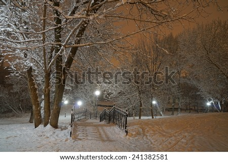View of the park after snowfall in December - stock photo