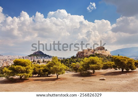 View of the Parthenon, Acropolis, and Filopappos Hill. Athens, Greece. - stock photo