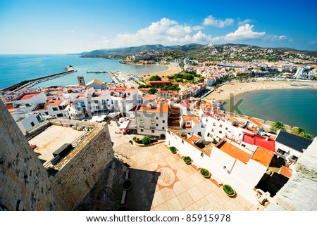 View of the Peniscola town Valencia, Spain - stock photo